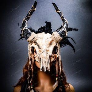 ILOVEMASKS Other - Halloween Animal Skull Feather Mask Antelope Horns